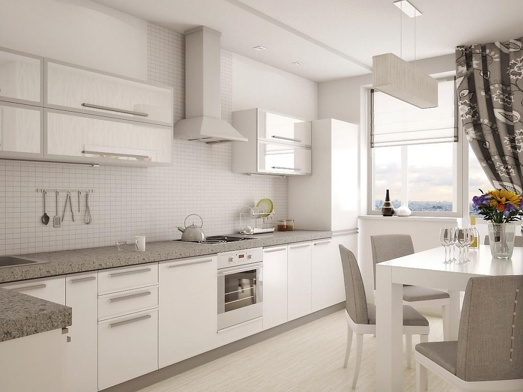 Белая кухня серая техника