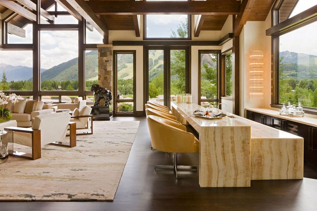 Дизайн кухни совмещенный с гостиной