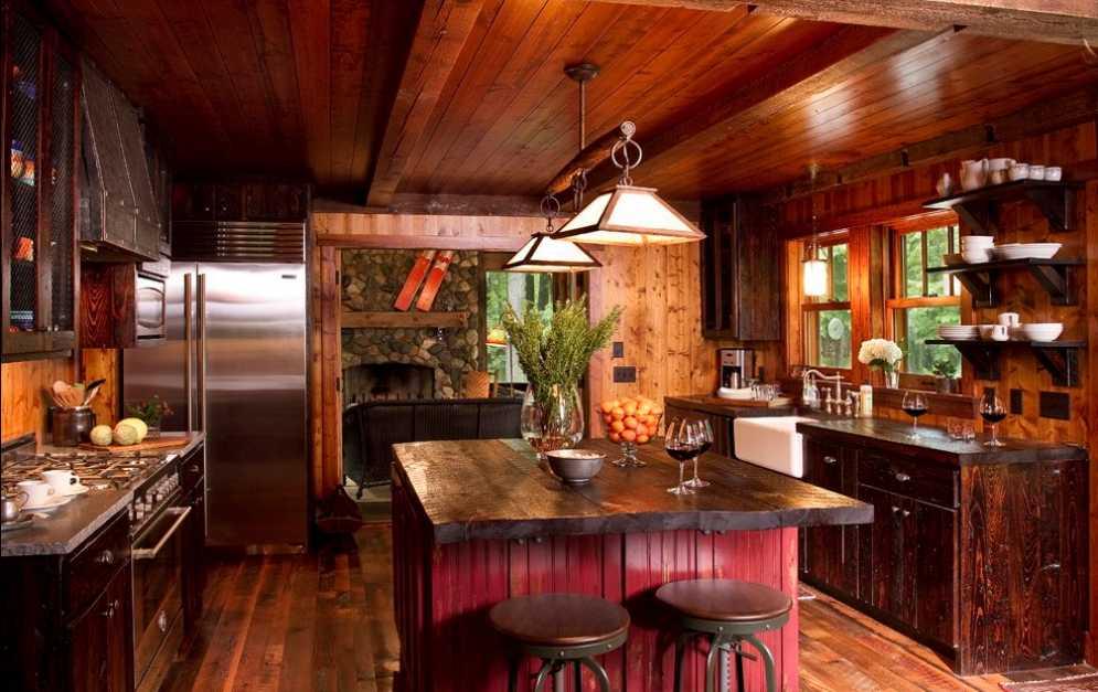 Столешница из натурального дерева в дизайне кухонного острова