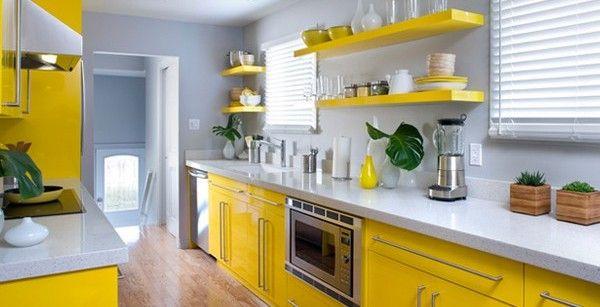 Желто-серая кухня в современном стиле