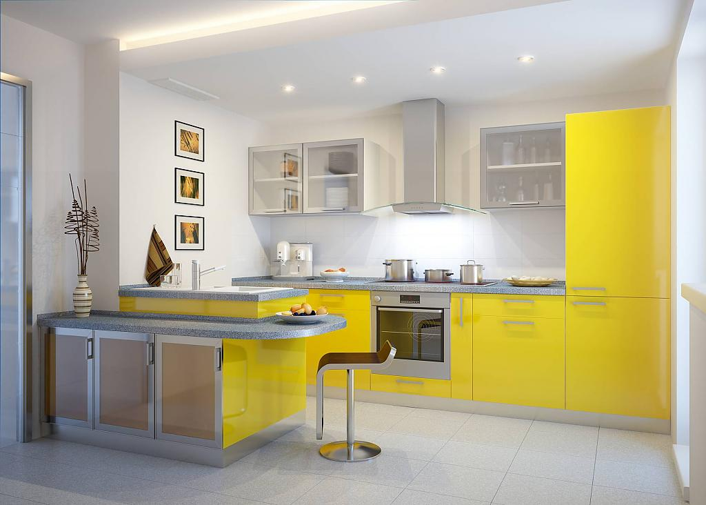 Дизайн желтой кухни 2017 современные идеи для маленькой кухни